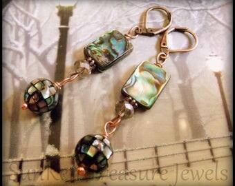 Vintage Style Art Deco MOP Earrings, Art Deco Silver-Blue Pearls, Downton Abbey Earrings, Mermaid Earrings, Mosaic Pearl Earrings