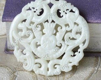 White Carved Dragon Jade Pendant Jade Pendant, Double Face Dragon Jade Pendant Amulet Talisman,Jade Necklace Pendant Jewerly