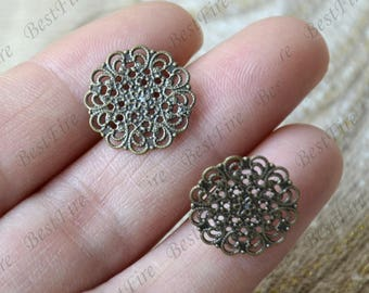 10 pcs New style Antique Brass Ear Studs,Earrings Posts With Filigree Earwires Findings,Earings Findings earring base findings