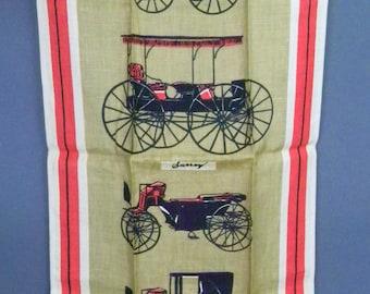 Vintage TAMMIS KEEFE Dish TOWEL Antique Carriages Tea Towel Surrey w/ Fringe Oklahoma Musical