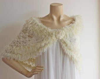Ivory Bridal Capelet / Wedding Wrap Shrug Bolero/Hand Knit Shrug -Vegan Cape-Ready to ship
