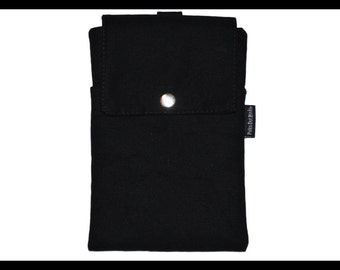 Black Twill Zipper Cell Phone Holder, Wallet, iPhone Case, Samsung Case, Droid, Phone Case