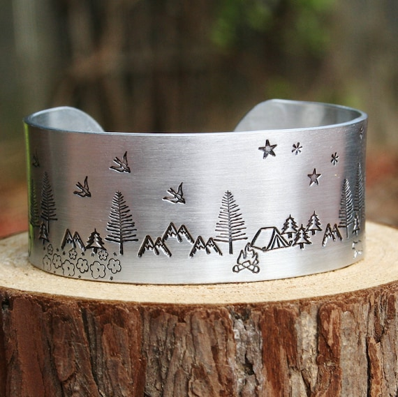Bracelet WIDE Custom Hand Stamped Jewelry Cuff Camping Tent Trees Buffalo Bison Bears Cubs Outdoors Moon Sun Adventure Campfire Scene