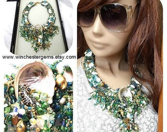 25%  Sale Statement necklace , Mermaids Gem