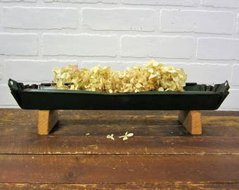 Rusty Old Green Galvanized Chicken Feeder Trough Centerpiece Planter Farmhouse Decor