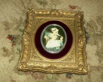 Vintage 1940's Cameo Creation Portrait Victorian Style Ornate Antique Gold Rustic Patina Frame Plaque