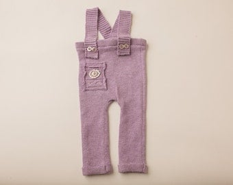 Lavendar Purple Ribbed Sweater Overall- Newborn Photography Overall Set