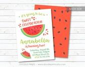 "Watermelon Invitation, Watermelon Birthday Party Invitation, Girl Summer Printable Invitation Party, Summer Party Invite 5x7 or 4x6"""
