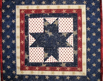 July 4th Wall Hanging, Table Topper, handmade, quilted table topper, Patriotic Year Round Independence Day Stars and Stripes