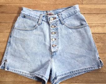 "Vintage 80s 90s Revival Grunge Light Pale Blue Faded Button Fly Denim Jean Cut Off Festival Shorts W 23"""
