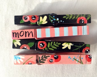 MOM CLOTHESPINS floral clothespins magnets hand painted pink and black