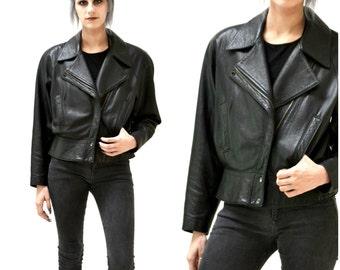 Vintage Black Leather Motorcycle Jacket by North Beach Michael Hoban// Vintage Black Leather Bomber Moto Jacket SIze Medium