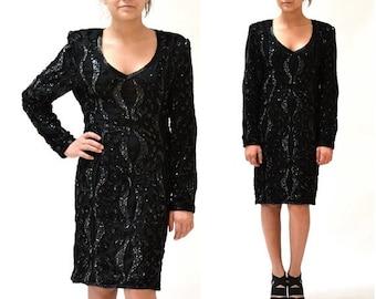 15% OFF SALE VIntage Black Sequin Dress Size Medium// 80s Sequin Party Dress in Black size Medium// Vintage Black Beaded Dress