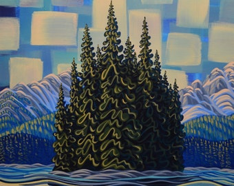 """Island Lake, 24""""X30"""",  Original Painting, Canadian Artist, Ready to Hang, Gallery Canvas"""