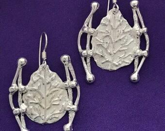 Leaf earrings-Handmade sterling silver earrings- Ornate silver earrings-Textured earrings-Svetlana Designs Jewelry