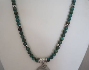 """Handmade Natural Turquoise Gemstone Beaded Necklace w/ Silver Tone Beads and Artisan Signed Pewter Wolf Raven Pendant, 19"""" Long, Rustic"""