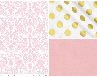 Baby Crib Bedding, Nursery Bedding, Toddler Bedding, Bumper Pads, Crib Skirt, Dust Ruffle, Fitted Sheet, Baby Girl Nusery Bedding Pink Gold