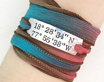 Latitude Bracelet, Wrap Bracelet, Coordinate Bracelet, Coordinate Jewelry, Latitude Jewelry, Latitude Longitude, Silk Wrap Bracelet