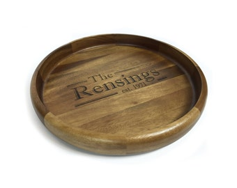 Medium Round Wood Serving Tray/Platter - Perfect as a Shower, Wedding, or Housewarming Gift