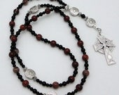 RESERVED LISTING for stevewiens: Red Picture Jasper Protestant / Anglican Prayer Beads with Celtic Cross