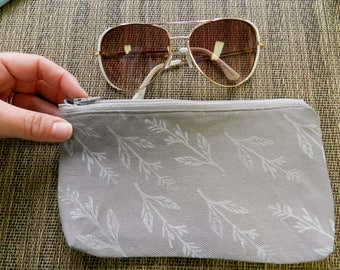 Gray Zipper Pouch. Clutch Purse. Hand Printed Botanical Print. Coin Purse. Phone Case. Travel Organization. Sunglasses Case. Gift for Her.