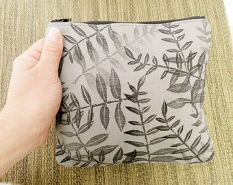 Botanical Print Clutch or Zipper Pouch. 8 Inch. Black and Gray Block Printed.  Travel Organization. Gift for Her. Birthday Gift for Friend.