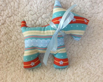 Stuffed Scottie dog -stuffed animal - plush - blue and red floral with stripes