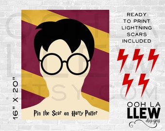 Pin the Scar on Harry Potter, Harry Potter Birthday, Harry Potter Shower, Harry Potter Theme, Harry Potter Party, Hogwarts Harry Potter Game