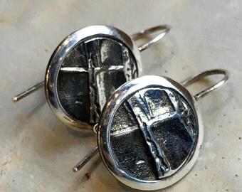 Modern earrings, Sterling Silver Dangle Earrings, Abstract Silver Earrings, Round Dangle Earrings, Small Oxidized Silver Earrings,#571