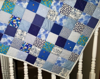 Baby Quilt, Toddler Quilt, Quilted Car Seat or Carrier Cover, or Baby Floor Play Quilt Blue with Blue and Lavender Baby Themed Backing