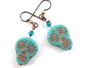 Turquoise and Copper Sugar Skull Earrings, Halloween Earrings, Skull Day of the Dead Southwestern Dangle Earrings, Crystal Goth Boho, HO0025