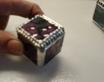 Stained Glass Tiny Ring Box - Purple Granite 1 1/4 x 1 1/4