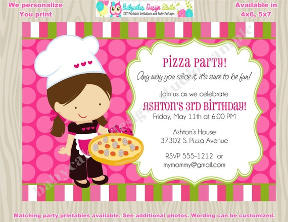 pizza birthday party invitation invite pizza party birthday, Party invitations