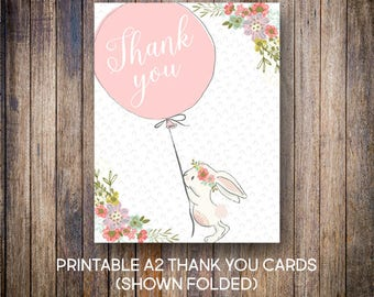 Bunny Thank You Cards, Balloon Thank You Notes, Birthday Thank You, Flowers, Digital Download, Printable Cards, 601