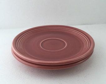 Fiestaware, Fiesta ware Saucers, Rose Glaze Pink, Set 2 Cup Saucers, Homer Laughlin Vintage Dishes