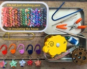I'm not just stashing yarn: The Knitter's Tool Tin with notions for your knitting bag