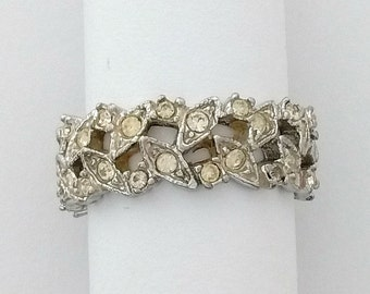 Vintage Sterling Silver Blonde Yellow Rhinestone Crisscross Band Women's Ring Size 8