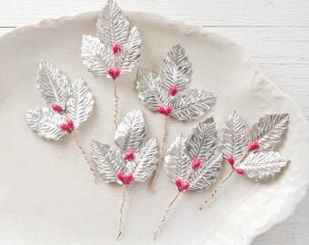 Vintage Holly Leaves - Mid Century Christmas Craft Stems, Silver Foiled Paper Holly Berry Floral Picks, 6 Pcs.