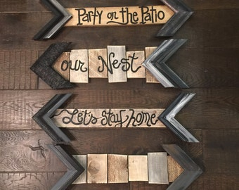 Arrow HandPainted on shiplap mixed wood made with frame sample corners-your words on shiplap