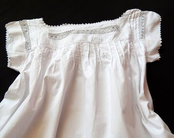 French Vintage Nightgown with Lovely Hand Crocheted Yoke