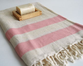 SALE 50 OFF/ Turkish Beach Bath Towel / Linen - Cotton / Pink / Wedding Gift, Spa, Swim, Pool Towels and Pareo