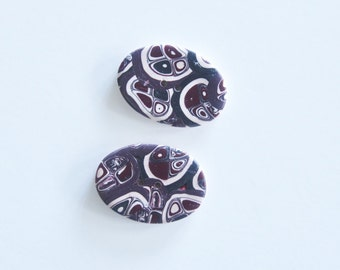 Oval Handmade Buttons - burgundy, black, white - Polymer Buttons - Abstract Art Buttons