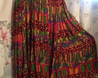 Open Size, Skirt Bohemian Hippie Boho Indie Colorful Flowerchild Long Full Skirt