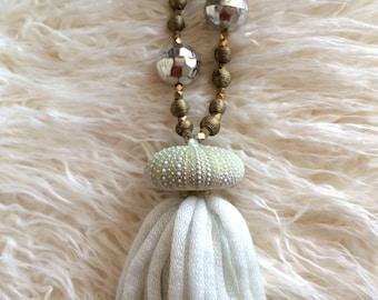 Tassel Christmas Ornament, Beach Christmas Ornament, Sea Urchin -- Green Christmas Decor, Gold Christmas Decor