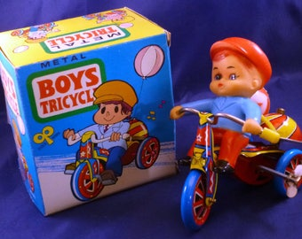 Vintage Boys Tricycle Wind Up Tin Toy, 1960s