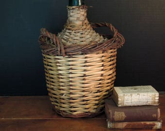Vintage Spanish Demijohn Wrapped in Wicker / Demijohn Green Glass Bottle / French Country Kitchen Style