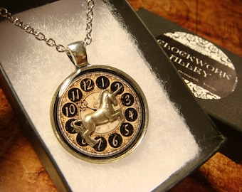 Unicorn over Clock Pendant Necklace (2405)