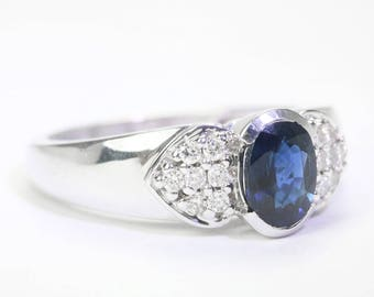 1.21cts Natural Blue Sapphire & Diamond Ring, Sapphire Diamond Pave ring 14K White Gold, Sapphire Engagement