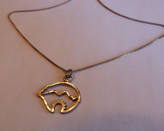 Vintage Sterling Silver Bear Necklace with Mountain/Snake Motif Inside ... Calling All Bear People!