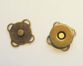 Magnetic Bag Clasps - SEW ON - Antique Brass 14mm